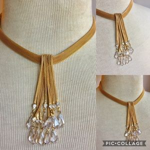 Vintage gold rhinestone Statement necklace